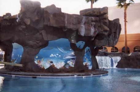 Rio Resort Ceramic Mural in Pool Waterfall
